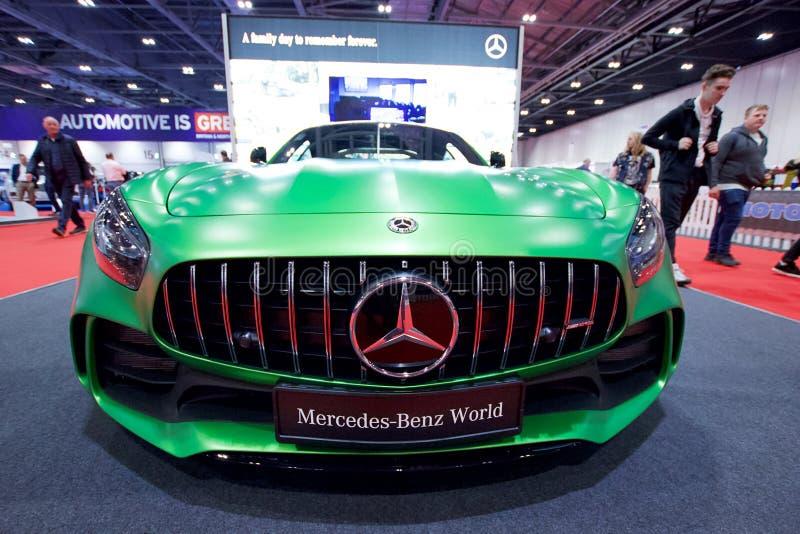 Mercedes-AMG GT R auf Anzeige in der London-Autoausstellungs-Excel-Ausstellungs-Mitte 2018 lizenzfreie stockfotografie