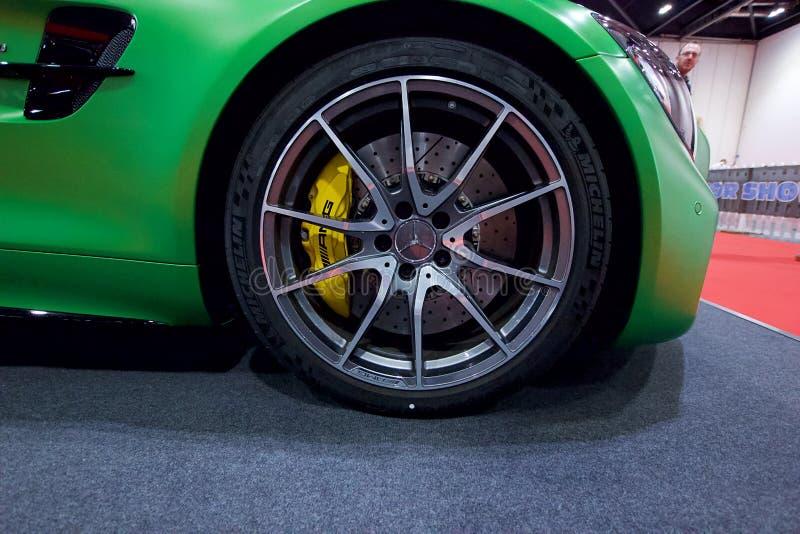 Mercedes-AMG GT R auf Anzeige in der London-Autoausstellungs-Excel-Ausstellungs-Mitte 2018 lizenzfreie stockfotos