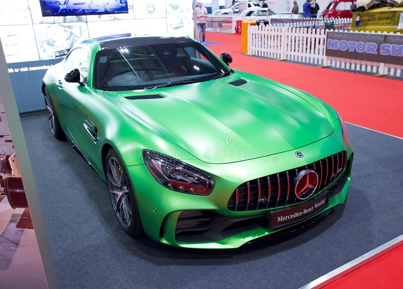 Mercedes-AMG GT R on display at The London Motor Show 2018 ExCeL Exhibition Centre. LONDON, ENGLAND, MAY 18TH, 2018: Mercedes-AMG GT R on display at The London royalty free stock images