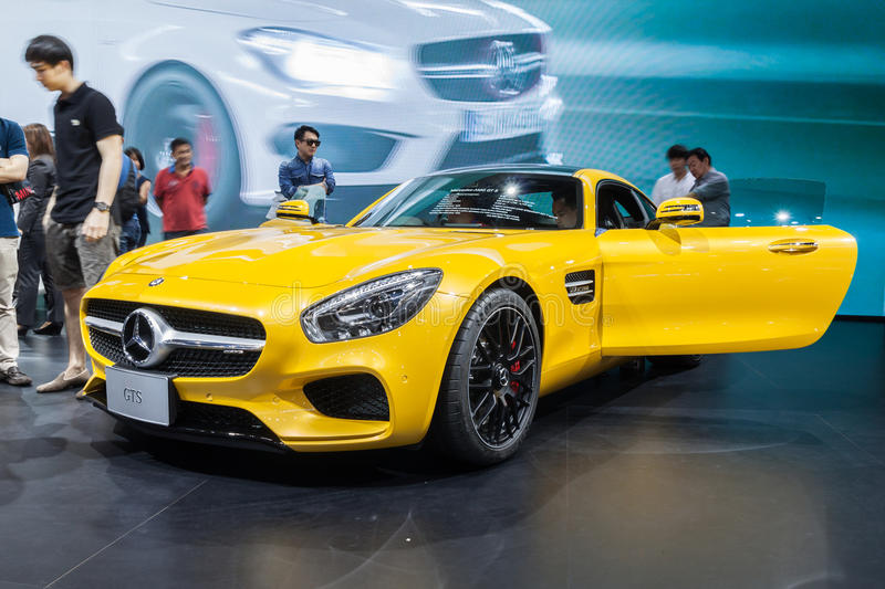 Mercedes AMG GTS on display. Nonthaburi,Thailand - March 26th, 2015: Mercedes AMG GTS on display,showed in Thailand the 36th Bangkok International Motor Show on royalty free stock images