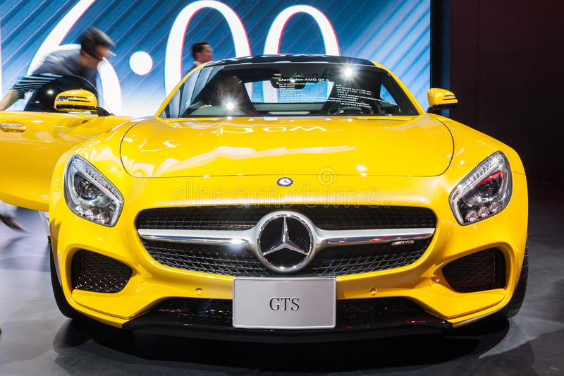 Mercedes AMG GTS on display. Nonthaburi,Thailand - March 26th, 2015: Mercedes AMG GTS on display,showed in Thailand the 36th Bangkok International Motor Show on stock photography