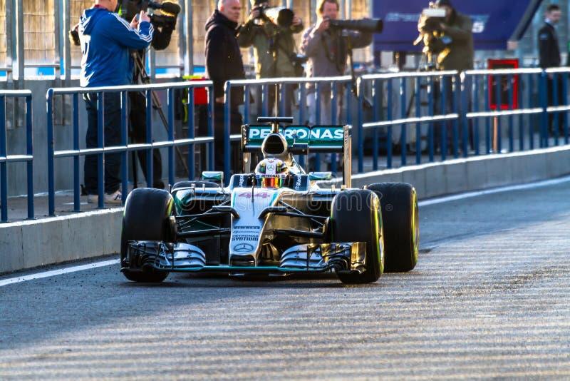 Mercedes AMG Petronas F1, Lewis Hamilton, 2015 royaltyfri bild