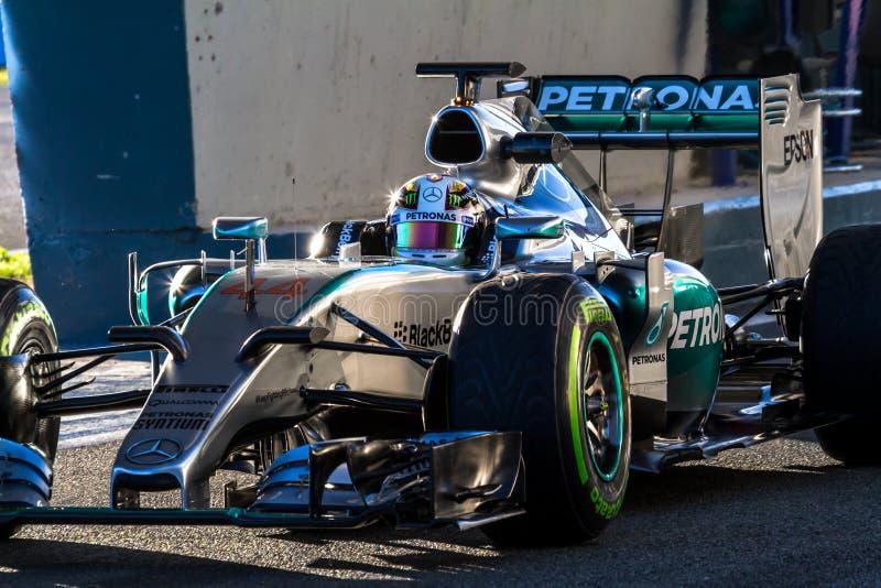Mercedes AMG Petronas F1, Lewis Hamilton, 2015 royaltyfria bilder