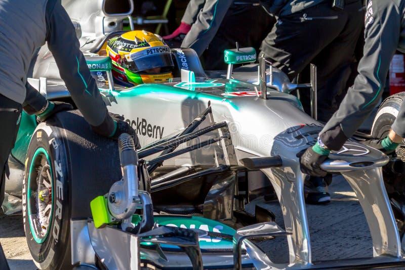 Mercedes AMG Petronas F1 Team, Lewis Hamilton,2013 royalty free stock photography