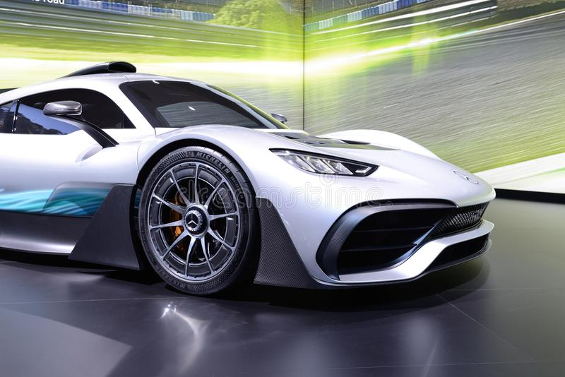The Mercedes-AMG Project One show car is on Dubai Motor Show 2017 stock photography