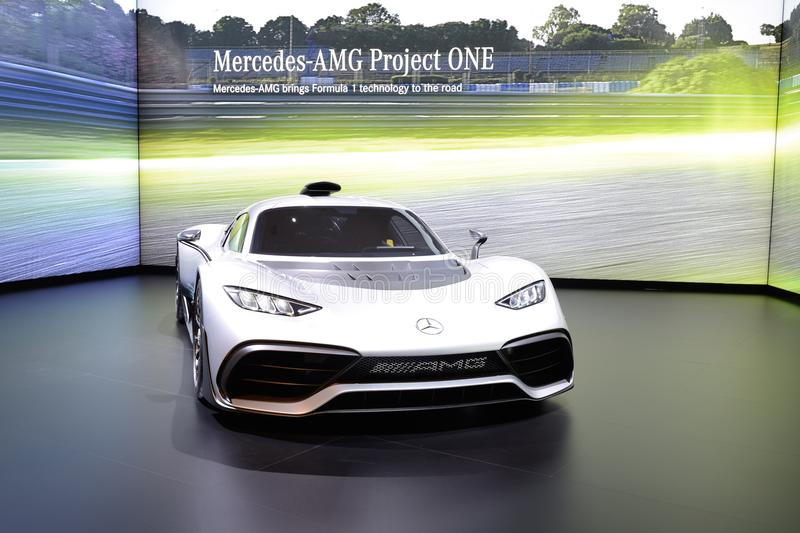 The Mercedes-AMG Project One show car is on Dubai Motor Show 2017 royalty free stock photo