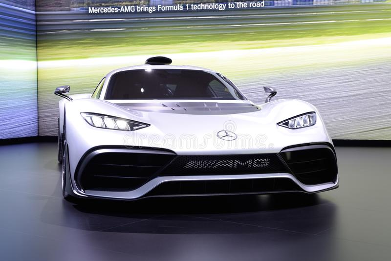The Mercedes-AMG Project One show car is on Dubai Motor Show 2017 stock photos