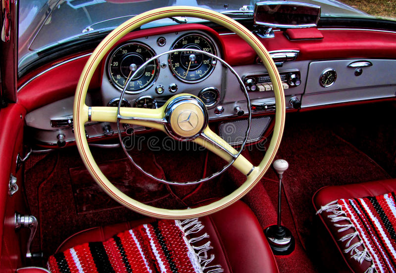 Mercedes-Benz 190SL interior. Mercedes participating at an old timer meeting royalty free stock photography