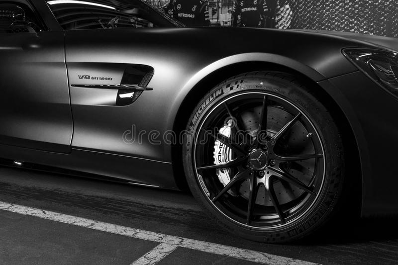 Mercedes-Benz AMG GTR 2018 V8 Biturbo exterior details. Tyre and alloy wheel. Carbon Ceramic brakes. Car exterior details. Blac. Sankt-Petersburg, Russia stock image