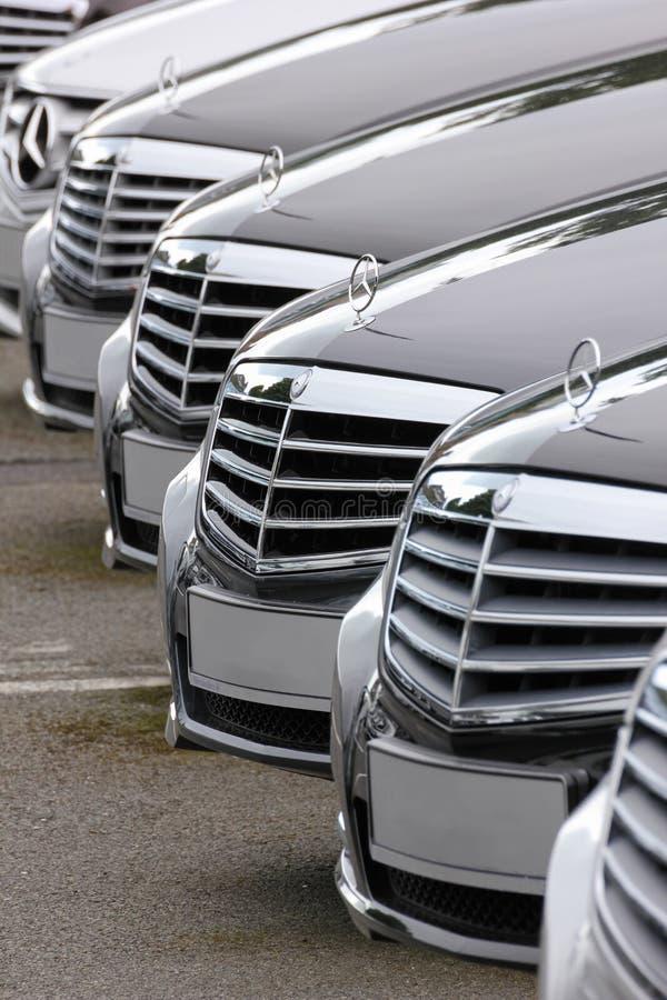 Mercedes Benz-Autos ausgerichtet stockbilder