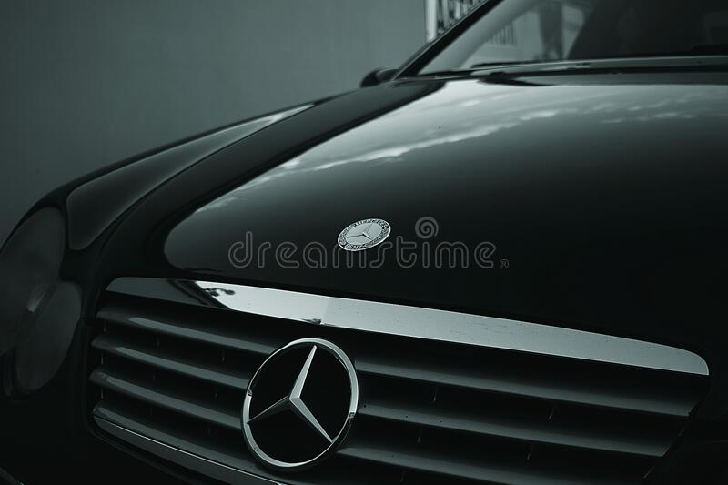 Mercedes Benz Black Car stock photo