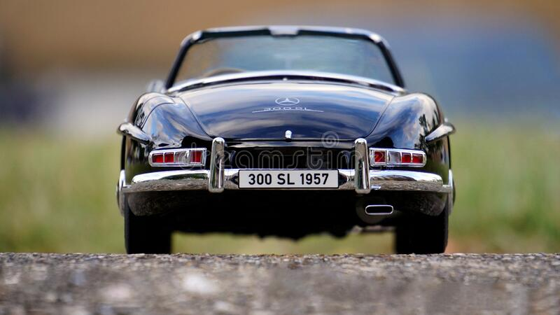 Mercedes Benz Black Convertible Classic Car stock photos