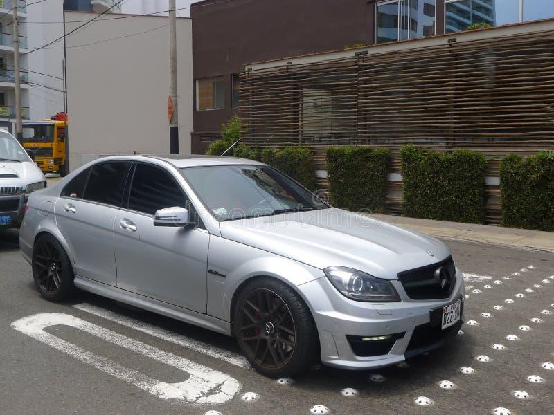 Mercedes-Benz C63 AMG w Miraflores, Lima zdjęcie royalty free