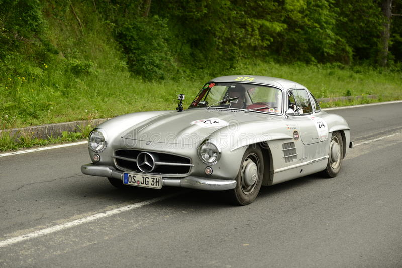 Mercedes-Benz car running in Mille Miglia race royalty free stock images
