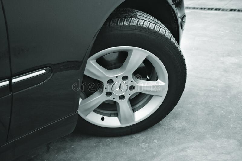 Mercedes Benz Car With 6 Spokes Wheel stock image