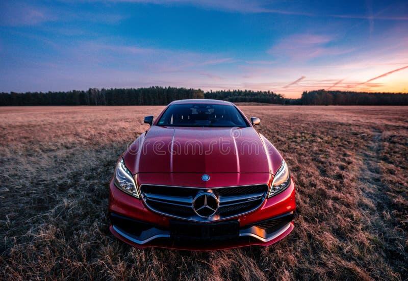 Mercedes Benz CLS AMG63 V8 Biturbo, Model 2017 stock afbeelding