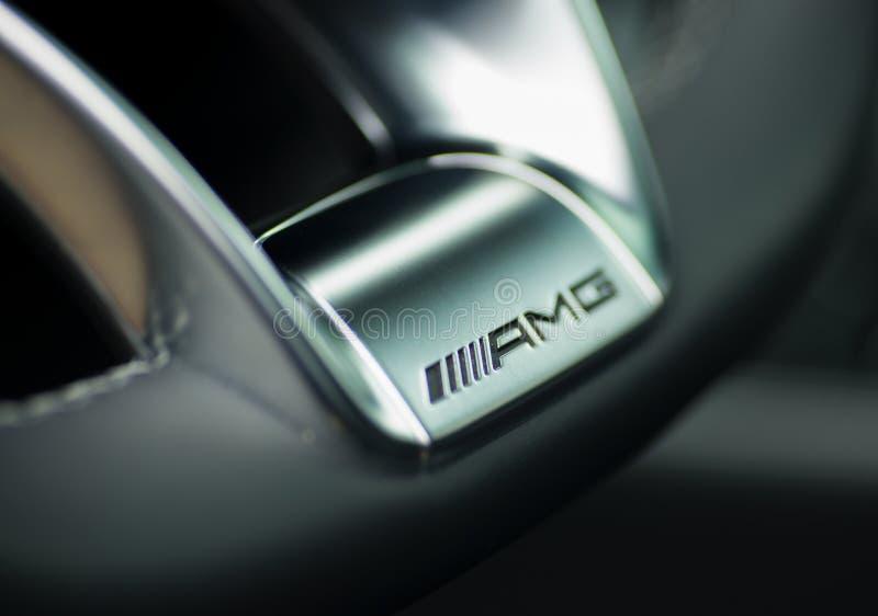 Mercedes Benz CLS AMG63 V8 Biturbo 2017, whhel de direção imagem de stock royalty free