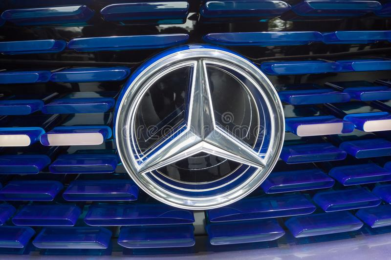 Mercedes Benz Electric Car Grill. Frankfurt, Germany - Sep 20, 2017: Logo at the front grill of a Mercedes Benz Electric Car at the Frankfurt International royalty free stock photos