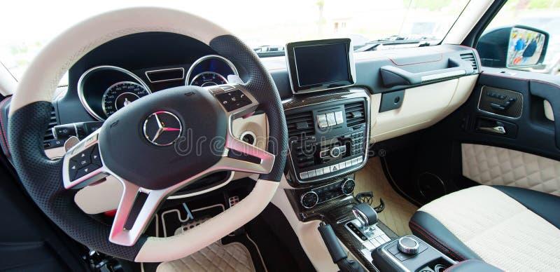 Mercedes Benz-g-Klasse, AMG, interieur royalty-vrije stock afbeelding