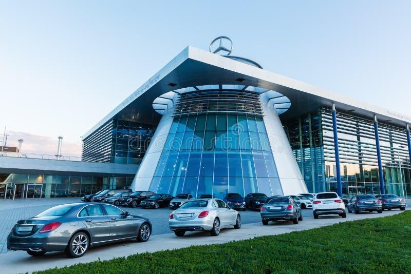 Mercedes Benz headquarters at dusk in Stuttgart, Germany stock images