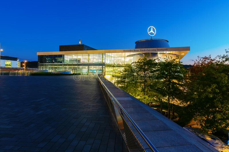 Mercedes Benz headquarters at night in Stuttgart, Germany stock photos