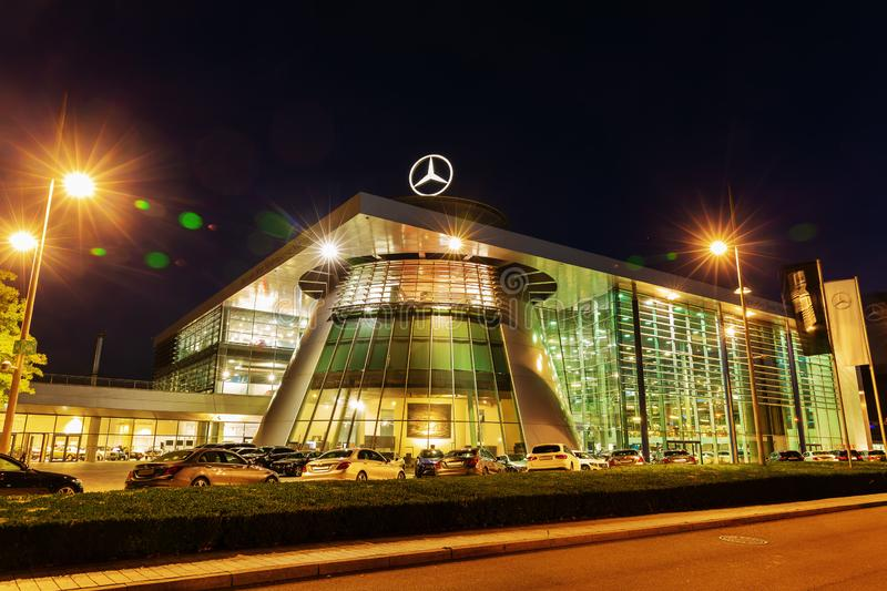 Mercedes Benz headquarters at night in Stuttgart, Germany stock images