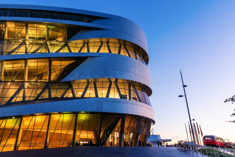 Mercedes Benz Museum in Stuttgart, Germany, at night stock photos