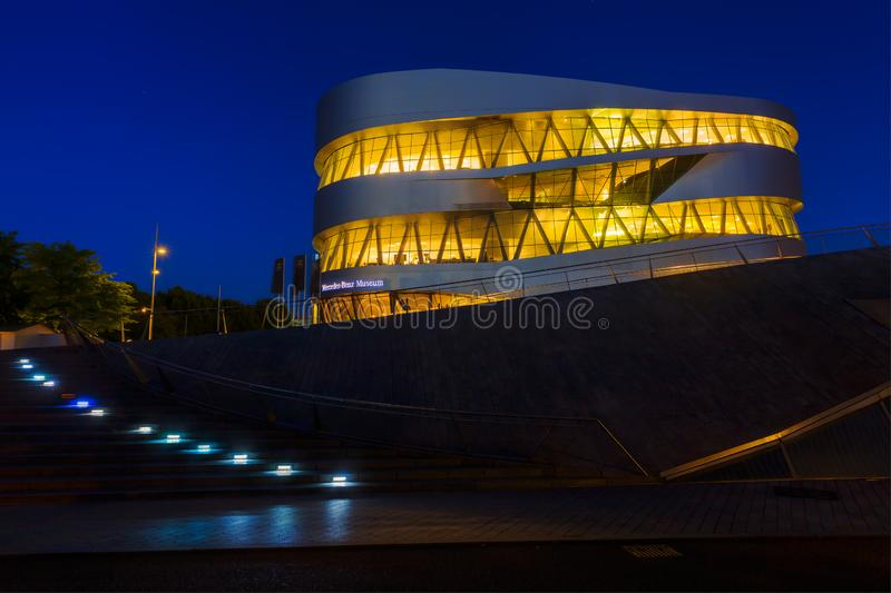 Mercedes Benz Museum in Stuttgart, Germany, at night stock photo