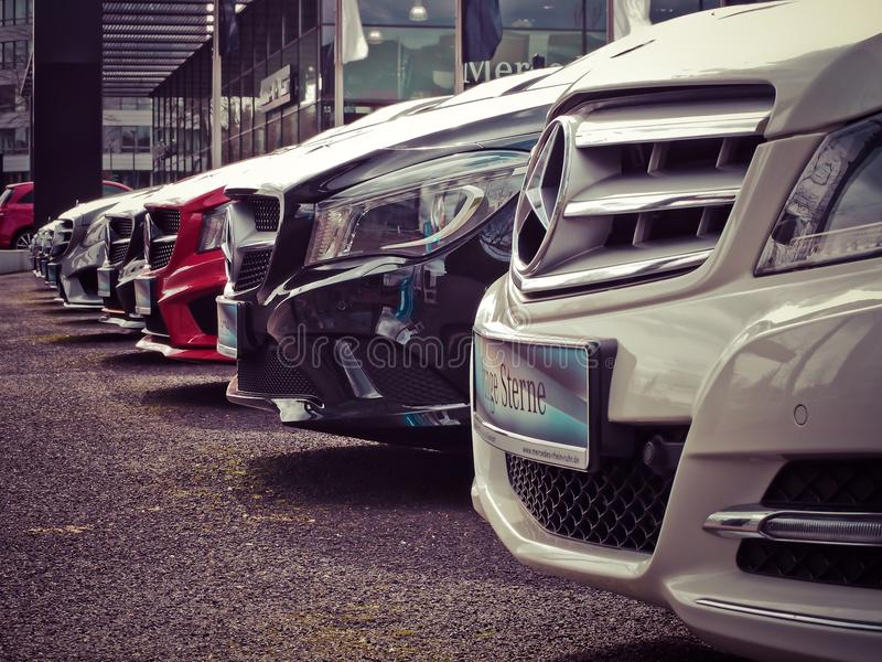 Mercedes Benz Parked in a Row royalty free stock photo