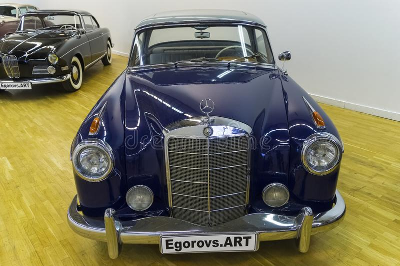 Mercedes-Benz 220S car. Moscow, Russia - November 10, 2018: Mercedes-Benz 220S car made in 1958 at the exhibition of old and rare cars royalty free stock photos