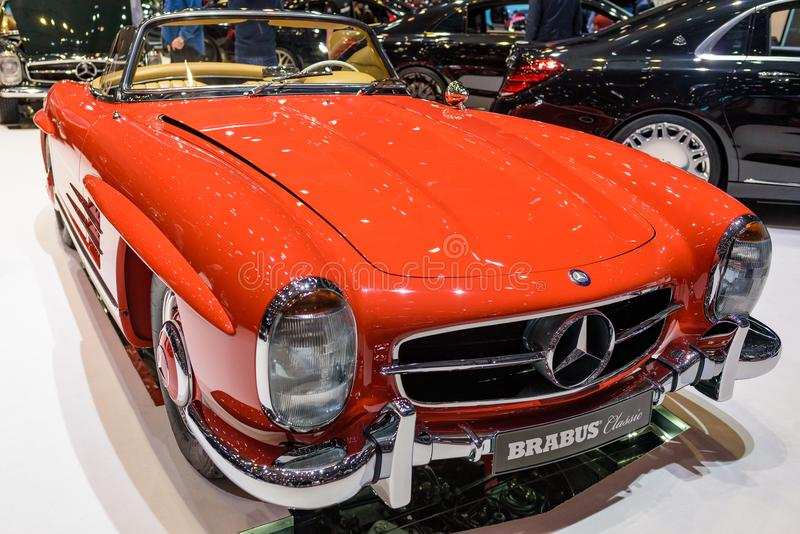 """Mercedes-Benz 300 SL """"Roadster"""" classic by Brabus. Burnt orange Brabus modified classic Mercedes-Benz 300 SL """"Roadster"""" at the 2018 Geneva royalty free stock image"""