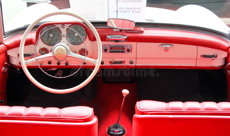 Mercedes-Benz 190SL. BERLIN, GERMANY - AUGUST 12, 2014: Interior of the german classic vehicle Mercedes-Benz 190SL in the museum of vintage cars Classic Remise stock photography