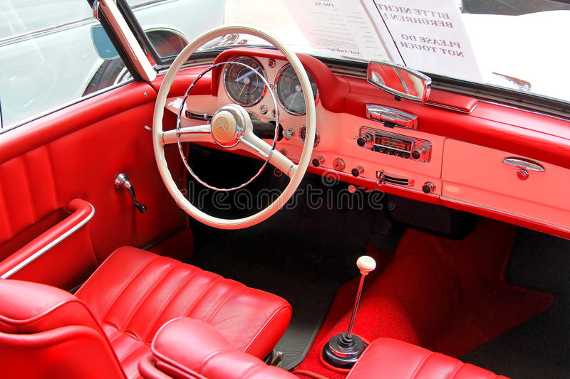 Mercedes-Benz 190SL. BERLIN, GERMANY - AUGUST 12, 2014: Interior of the german classic vehicle Mercedes-Benz 190SL in the museum of vintage cars Classic Remise stock photo