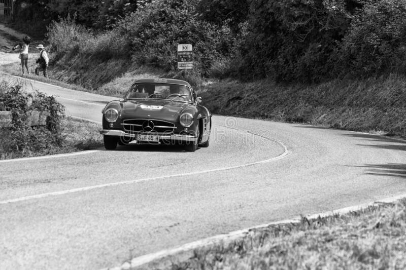 MERCEDES-BENZ 300 SL COUPÉ W198 1955 on an old racing car in rally Mille Miglia 2018 the famous italian historical race 1927-19. PESARO COLLE SAN BARTOLO stock images