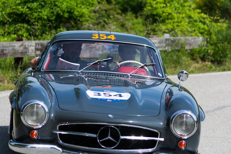 MERCEDES-BENZ 300 SL COUPÉ W198 1955 on an old racing car in rally Mille Miglia 2018 the famous italian historical race 1927-19. PESARO COLLE SAN BARTOLO royalty free stock image