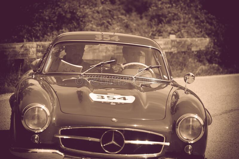 MERCEDES-BENZ 300 SL COUPÉ W198 1955 on an old racing car in rally Mille Miglia 2018 the famous italian historical race 1927-19. PESARO COLLE SAN BARTOLO stock photo