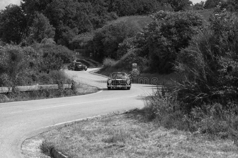 MERCEDES-BENZ 300 SL COUPÉ W198 1956 on an old racing car in rally Mille Miglia 2018 the famous italian historical race 1927-19. PESARO COLLE SAN BARTOLO stock image