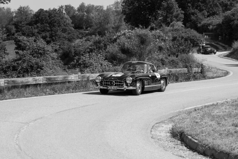 MERCEDES-BENZ 300 SL COUPÉ W198 1956 on an old racing car in rally Mille Miglia 2018 the famous italian historical race 1927-19. PESARO COLLE SAN BARTOLO royalty free stock images