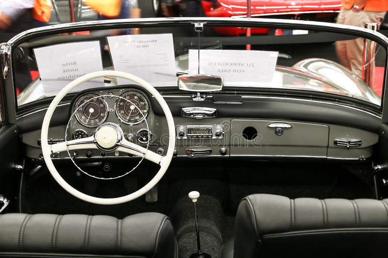 Mercedes-Benz 190SL. Frankfurt am Main, Germany - September 18, 2019: Interior of the retro car Mercedes-Benz 190SL W121 presented at the Frankfurt Motor Show stock image