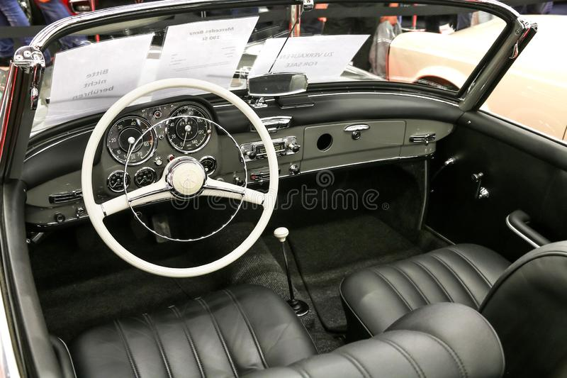 Mercedes-Benz 190SL. Frankfurt am Main, Germany - September 18, 2019: Interior of the retro car Mercedes-Benz 190SL W121 presented at the Frankfurt Motor Show stock photos