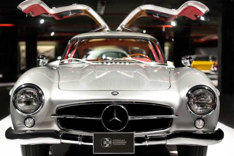 Mercedes-Benz 300 SL Gullwing vintage luxury car front side stock photos