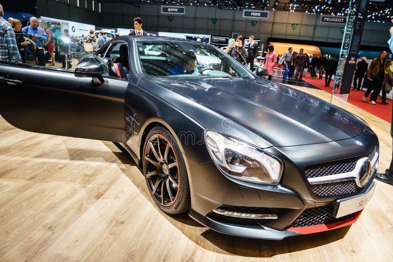 Mercedes-Benz SL400, motorisk show Geneve 2015 fotografering för bildbyråer