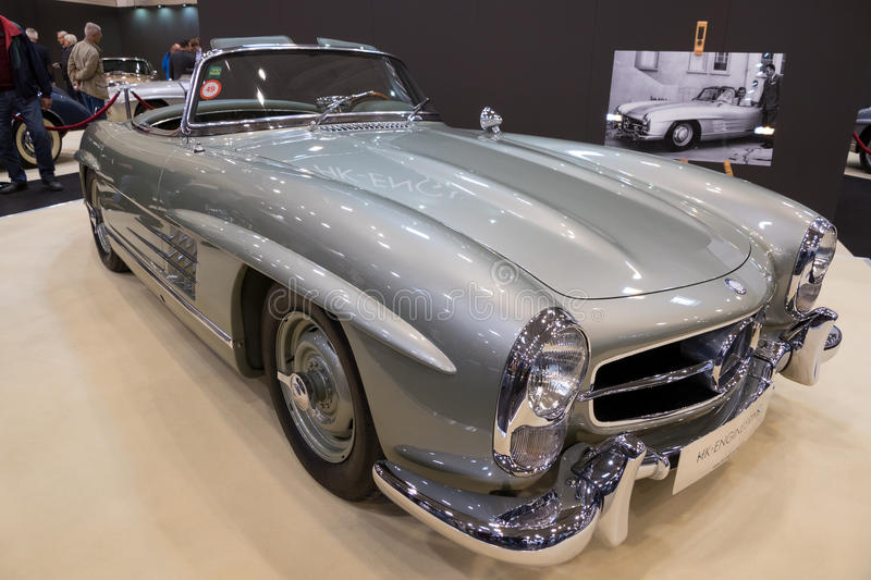1957 Mercedes Benz 300SL Roadster classic car. ESSEN, GERMANY - APR 6, 2017: a 1957 Mercedes Benz 300SL Roadster classic car presented at the Techno Classica stock photo