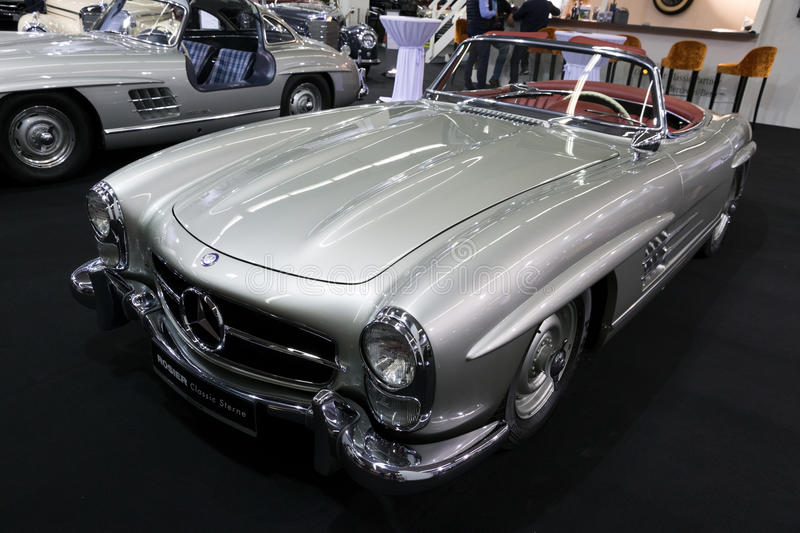 1957 Mercedes Benz 300 SL Roadster W198 vintage car. ESSEN, GERMANY - APR 6, 2017: a 1957 Mercedes Benz 300 SL Roadster classic car presented at the Techno royalty free stock image