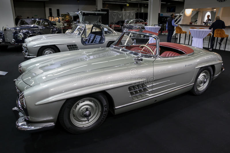 1957 Mercedes Benz 300 SL Roadster W198 vintage car. ESSEN, GERMANY - APR 6, 2017: a 1957 Mercedes Benz 300 SL Roadster classic car presented at the Techno royalty free stock photo