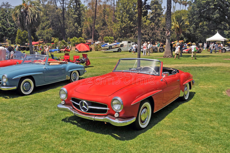 Mercedes Benz 190SL. This is a well maintained 1962 Mercedes Benz 190SL, a popular two seater with with the classic sports car crowd stock photography