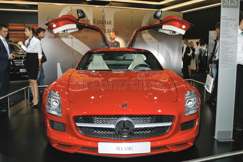 Mercedes-Benz SLS AMG. At the Moscow International Automobile Salon (MIAS-2010) August 25 - September 5 stock images