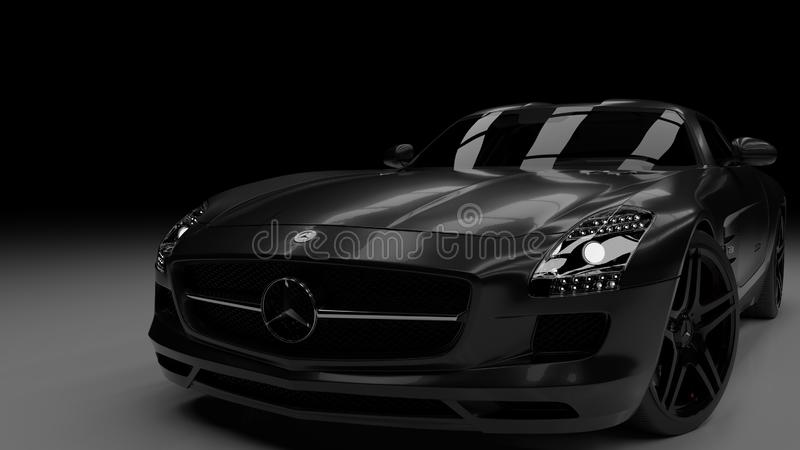 Mercedes Benz SLS AMG 2011. Black Mercedes Benz SLS AMG 2011 with and overlight, luxorious vehicle. Candy black color stock photo