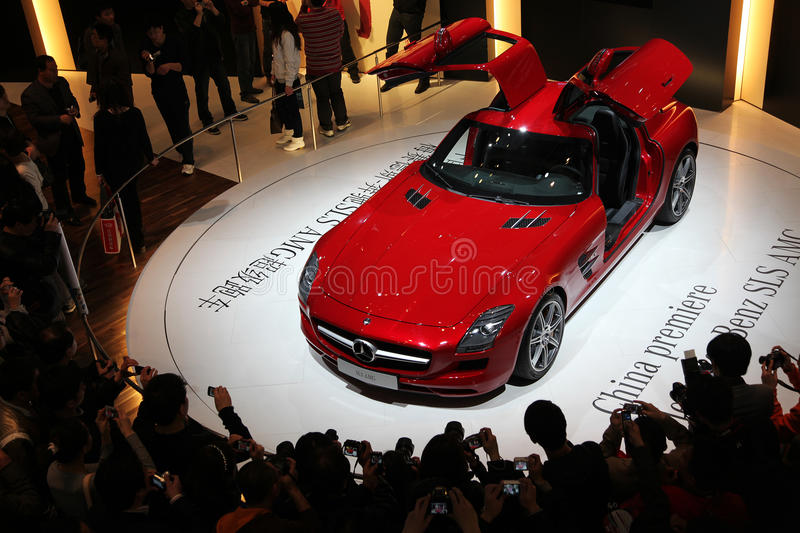 Mercedes-Benz SLS AMG car. BEIJING - APRIL 27: A Mercedes-Benz SLS AMG car is on display at the 2010 Beijing International Automotive Exhibition (Auto China 2010 stock photos