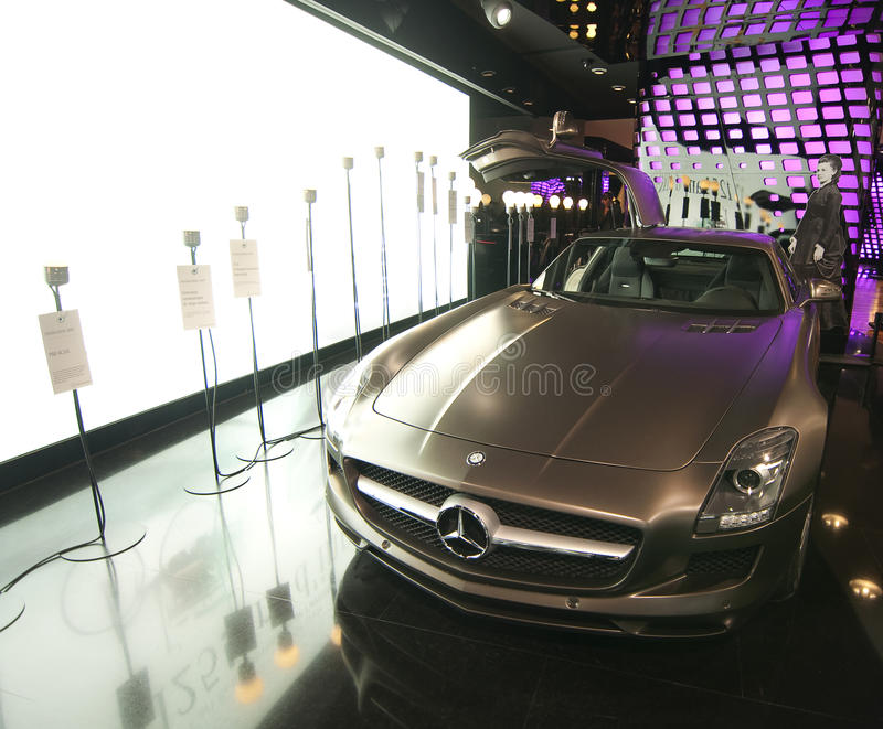 Mercedes Benz SLS AMG car. The new Mercedes Benz SLS AMG car being exhibited at the Mercedes showroom in Paris, France, August 2011 royalty free stock images